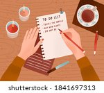 desk with candles  a cup of... | Shutterstock .eps vector #1841697313