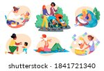 motherhood  baby care women and ... | Shutterstock .eps vector #1841721340