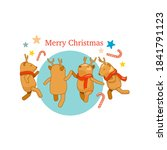 reindeer party with christmas... | Shutterstock .eps vector #1841791123