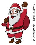 santa claus standing and waving ... | Shutterstock .eps vector #1841808949