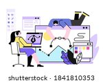 girl and guy draw computer... | Shutterstock .eps vector #1841810353
