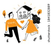 lovers walk hand in hand and... | Shutterstock .eps vector #1841832889
