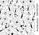 spring pattern black and white | Shutterstock .eps vector #184184393