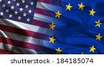 usa   eu flags waving together | Shutterstock . vector #184185074