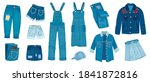 jeans clothes. ripped denim... | Shutterstock .eps vector #1841872816