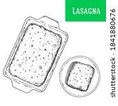 lasagna sketch vector... | Shutterstock .eps vector #1841880676
