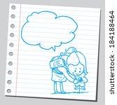 schoolkid talk to flower | Shutterstock .eps vector #184188464