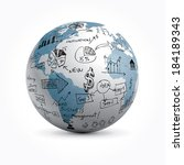 vector globe with hand drawn... | Shutterstock .eps vector #184189343
