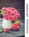 Bouquet Of Pink Roses In Vase...