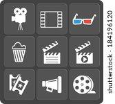 set of 9 cinema vector web and... | Shutterstock .eps vector #184196120