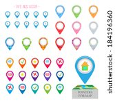 marker points for pinpointing... | Shutterstock .eps vector #184196360