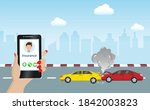car accident  crashed cars on... | Shutterstock .eps vector #1842003823