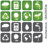 set of sustainable icons in two ...