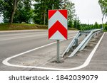 A Metal Safety Barrier With A...