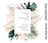 tropical elegant pastel frame... | Shutterstock .eps vector #1842061903