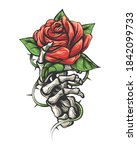tattoo of rose flower in human... | Shutterstock .eps vector #1842099733