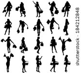 vector silhouettes of woman on... | Shutterstock .eps vector #184212848