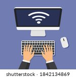 businessman works at the... | Shutterstock .eps vector #1842134869