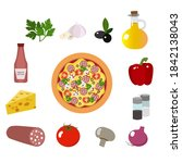 fresh pizza. food ingredients....   Shutterstock .eps vector #1842138043