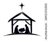 nativity scene silhouette... | Shutterstock .eps vector #1842151003