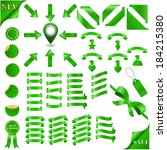 green  ribbons set and marker... | Shutterstock .eps vector #184215380