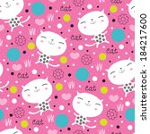 Cute Floral Cat Pattern Vector...