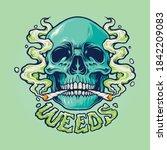 weed skull smoke illustrations... | Shutterstock .eps vector #1842209083