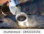 the coffee cup on the old... | Shutterstock . vector #1842223156