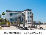 Small photo of Dubai, UAE, October 18, 2020. Rove hotel exterior facede. Located in LA Mer Beach.