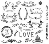 vector graphic wedding set | Shutterstock .eps vector #184237634