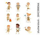 cute scouts boys and girls set  ...   Shutterstock .eps vector #1842388066