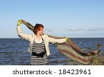 red haired woman with scarf.... | Shutterstock . vector #18423961