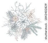 vector christmas floral... | Shutterstock .eps vector #1842402829