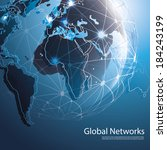 global networks   eps 10 vector ... | Shutterstock .eps vector #184243199