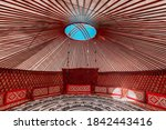 Small photo of 07 September 2020, Isparta, Turkey: Interior of a Yurt. It is a portable tent house in the culture of Central Asian nomadic peoples. Ethnic and folk patterns for home decoration