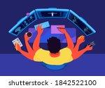 an indie developer  programmer... | Shutterstock .eps vector #1842522100