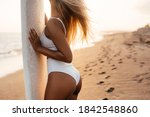 Beautiful surfer woman on the...