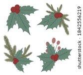 holly berry set. christmas... | Shutterstock .eps vector #1842556219