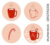 christmas cup or mug with hot... | Shutterstock .eps vector #1842556336