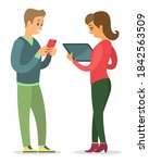 man and woman talking to each...   Shutterstock .eps vector #1842563509