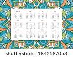 calendar with mandalas dark...   Shutterstock .eps vector #1842587053