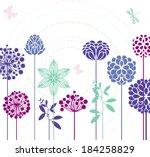 flowers and butterflies   Shutterstock .eps vector #184258829