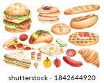 set of fast food doodle in... | Shutterstock .eps vector #1842644920