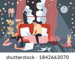 the family is working at home...   Shutterstock .eps vector #1842663070