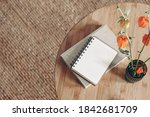 empty diary  notepad mockup and ... | Shutterstock . vector #1842681709