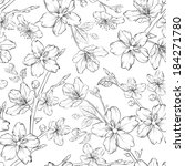 cherry blossom seamless pattern.... | Shutterstock . vector #184271780