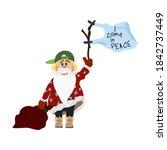 Comic Santa Claus In A Green...