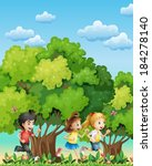 illustration of the three kids... | Shutterstock .eps vector #184278140