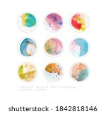 set of multicolored social... | Shutterstock .eps vector #1842818146