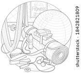 fitness equipment. fitness mat ... | Shutterstock .eps vector #1842821809